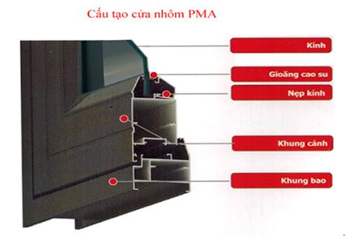 Nhôm PMA là loại nhôm nhập khẩu từ Trung Quốc có độ cứng, khả năng chịu lực cao hơn hẳn so với nhôm thông thường. Nhôm PMA có một hệ duy nhất là hệ 55 với độ dày từ 1.3mm đến 1.6mm.